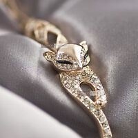 18k rose gold gp made with SWAROVSKI crystal fox filigree chain bracelet