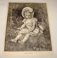 1887 magazine engraving ~ PORTRAIT OF A YOUNG GIRL