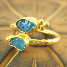 Handmade Hammered Turkish Rough Neon Apatite Ring 24K Gold Over Sterling Silver