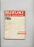 "Suzuki F50 (69-73) Factory Parts List Catalog Book Manual F 50 ""Super Free"" AS08"