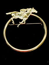 Racing Horse Brooch Gold Toned
