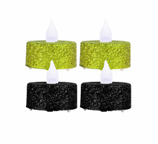 4 Pack Halloween Glitter LED Tealights Candle soft glow with a flickering effect