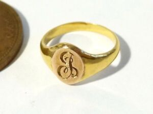 1916 Antique 9ct Gold Signet Ring Charles Horner, Small Child or Doll Ring #L69