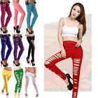 Women Girls Skinny Ripped Pants Stretch Slim Pencil Trousers Leggings Clubwear