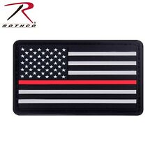 Rothco Rubber Thin Red Line Flag Patch - TRL American Flag PVC Hook & Loop Patch