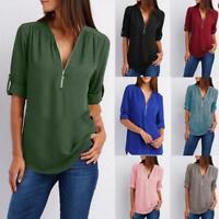 New Womens Spring Summer Top V Neck Zip Blouse Long Sleeve Loose Chiffon T-Shirt