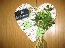 Kranz Herz Türkranz Willkommen Filz Metallherz grün weiss Frühling 20 cm exklusi