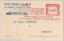 56984 - REGNO - STORIA POSTALE : Annullo ROSSO MECCANICO su CARTOLINA 1941 PAVIA