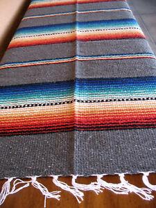 Rio Bravo Serape ONWRB-Grey Southwest Southwestern Blanket Table Cover Afghan