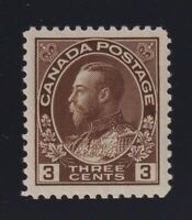 Canada Sc #108c (1923) 3c brown Admiral Dry Printing Mint XF NH