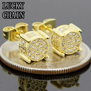 14K GOLD FINISH CZ BLING OUT STUD EARRING(W 6mm)R20