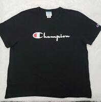 Champion Woman XXL Black T-shirt Script Logo Classic Fit Short Sleeve FREE SHIPP