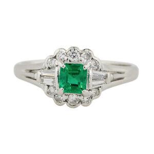 Platinum 0.37ct Emerald Center Diamond Cocktail Ring