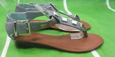 "new ladies  Blue/Silver stud 1""Wedge Heel Ankle Strap Sexy Shoes Sandal Size 6.5"