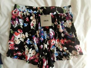 Asos womens black/multi/floral shorts size 12, new with tags