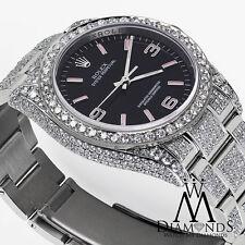 Rolex Oyster Perpetual 36mm Black w/ Pink Custom Added Diamonds Watch 116000