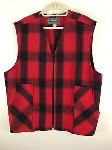 Stormy Kromer Button Vest  Cold Weather Men's Wool Vest Red Plaid 50 Long