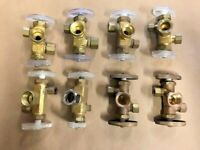 New Dual Stop / Shutoff Valves Solid Brass, Dual Handle Plumbers Special 8 Pack!