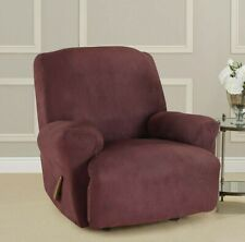 Sure fit Stretch vegan Suede sangria wine red recliner cover heavyweight 1 piece