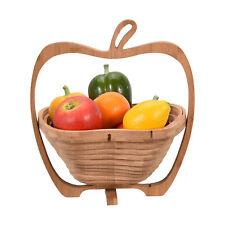 Unique Apple Shaped Bamboo Wood Folding Fruit Bowl or Basket