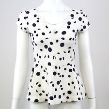 Anthropologie Deletta Womens Top Size M White Blue Polka Dot Short Sleeve Peplum