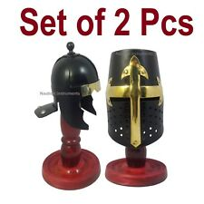 MEDIEVAL ROMAN AND CRUSADER KNIGHT TEMPLAR MINI HELMET WITH WOODEN STAND