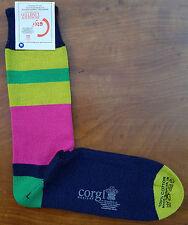 Corgi Mens Cotton Socks Size Large Variable Block Cerise Made Wales Medium Thick