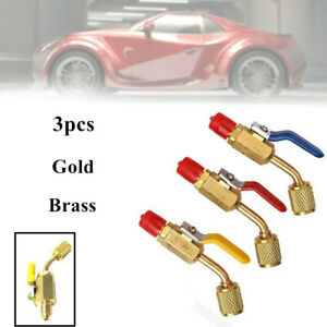 3x Gold Brass Car Charging Hose Adapter Fit for 134a R22 R12 Refrigerant Refill