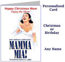 Personnalisé Mamma Mia spectacle musical Billet Portefeuille Carte-Anniversaire Cadeau de Noël
