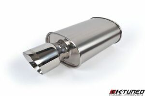"K-Tuned Offset Inlet &Center Outlet SHORT Universal Stainless Exhaust Muffler 3"""