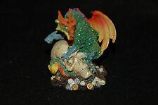 "Dragon Perched on Skull Figurine-- Poly Resin-- 3""L x 2""W x 3 1/4""H"