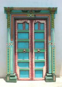 Old Vintage Hand Painted Indian Wooden Door with Hand Carved Door Frame P-204