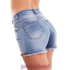 Pantalones Cortos Mujer Vaqueros Shorts Talle Alto Telas a Rayas Hot Nuevo E1124