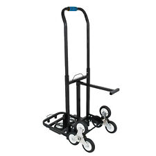 Stair Climbing Cart 420Lb Capacity Hand Truck 2 Tri-Wheel &Backup Wheels (Black)