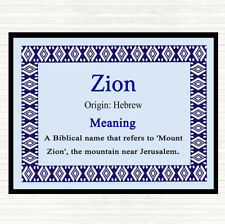 Zion Name Meaning Dinner Table Placemat Blue