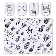 Black Green Cactus Water Decal Potted Plant Nail Art Transfer Sticker Tattoo DIY