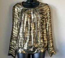 Genuine Mulberry Gold Silk Long Sleeve Blouse Size 8 Tiger Stripe