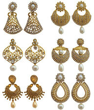 Indian Traditional Bollywood Faux Pearl CZ Fashion Earrings Women Free Shipping