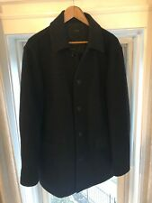 J Crew 100% Wool Charcoal Gray University Jacket Coat Quilted Lining Sz L