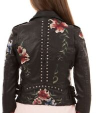 Caroline Morgan Leather Jacket Faux Size 16 Embroided Roses Flowers Studs Fitted