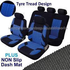 Black Blue Velour Tyre Tread Design Car Seat Covers Set PLUS Non Slip Dash Mat