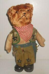 "Vintage Straw Filled Antique Western Cowboy Teddy Bear 13"" Tall Chaps Vest GUND"