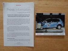 HONDA CIVIC SAFETY orig 2001 UK Mkt Press Release + Photo - Brochure