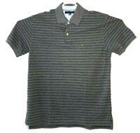Tommy Hilfiger Striped Polo Shirt Flag Logo Dark Gray Mens Large Short Sleeve
