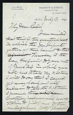 John Q. A. Brackett 36nd Governor of Massachusetts signed note dated 1886