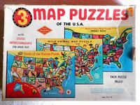 (3) Vintage Built Rite Tray Puzzles USA Maps, Birds of the Nation, Wild Animals