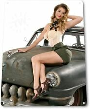 Army Pinup Girl Sexy Hot Rod Car Garage Auto Shop Man Wall Decor Metal Tin Sign