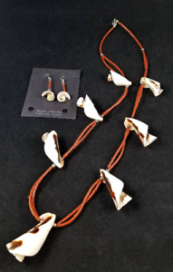 Shell Horn Bead and Coral Heishi Necklace and Earrings