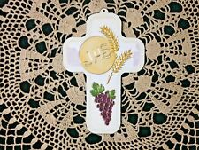 "WOODEN 1st HOLY COMMUNION CROSS  5""H x 3-1/2""W. Gold etching Imp. Italy"