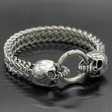 Silver Stainless Steel Skull Heads Franco Chain Men's Punk Biker Bracelet